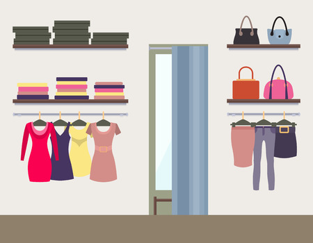 Women shop interior colorful vector illustration, display of various womens clothing, shelves and hangers with dresses skirts pants clothes stylish bags Çizim