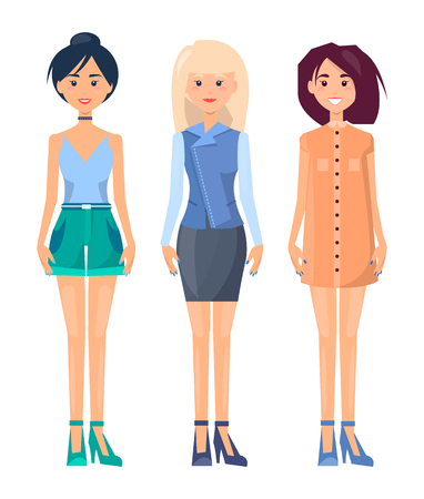 Three vogue women isolated on white background, vector illustration, fashionable shirts and dress, cute tank top, heeled shoes, vogue skirt and gown