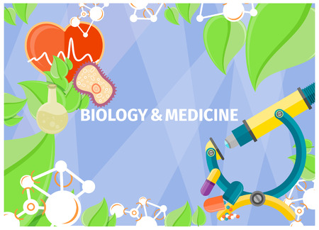 Biology and medicine as fundamental natural sciences. Vector illustration of core nations and processes, objects of biological and medical studies. Иллюстрация