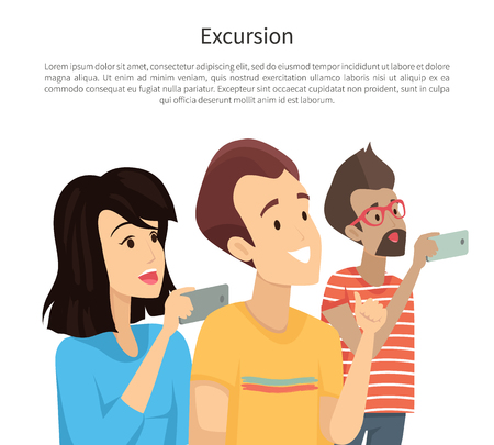 Excursion poster text sample people with mobile phones taking photos smiling man banner title vector illustration, isolated on white background Standard-Bild - 104955789