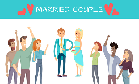 Married couple isolated on white vector poster, illustration with man elegant suit and bride in dress cheerful friends wedding, happy crowd cartoon style