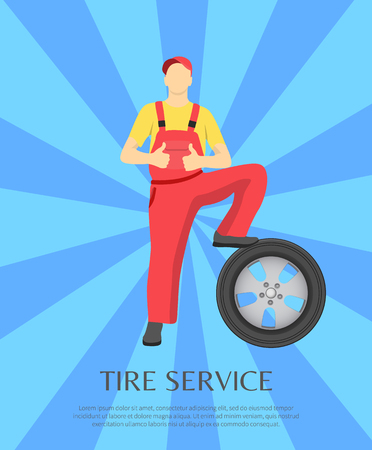 Service banner and worker placing his leg on tire made of rubber, auto mechanic wearing red uniform, striped blue background, vector illustration