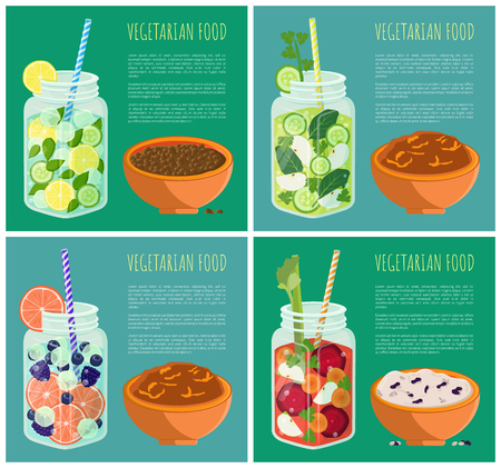 Collection posters vegetarian food with refreshing summertime detox diet juice with fruits and vegetables, bowl of rice buckwheat wheat porridge