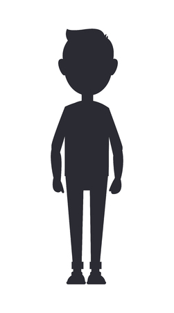 Teenager silhouette isolated on white backdrop, vector illustration with alone standing boy, black contour of adolescent, abstract person silhouette Vektorové ilustrace