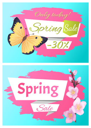 Only today spring sale set of posters butterfly and flower. Sale best offer discount collections sakura or cherry flowers, yellow black color insect vector