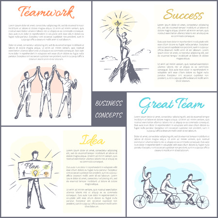 Business concepts collection of posters, success and teamwork, idea and great time, cooperation aspects set, vector illustration, isolated on white