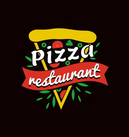 Tasty pizza restaurant bright promotional . Big triangular slice with sign. Italian food restaurant isolated vector illustration