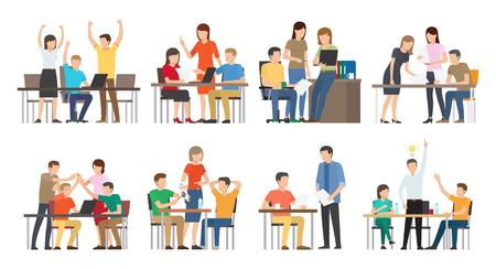 Equipo y trabajo en equipo exitoso, discusiones de reuniones de ideas de negocios, personas de planes que miran computadoras portátiles pensando bien aisladas en ilustración vectorial