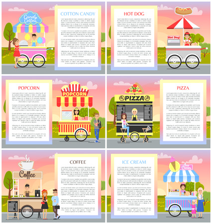 Cotton candy and popcorn collection in park, vector illustration of ice cream pizza coffee hot dog mobile cafes set text sample, summer shops Foto de archivo - 104984340