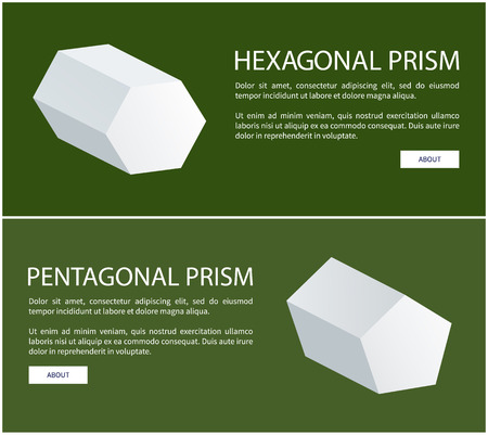 Pentagonal and hexagonal prisms on web posters with text, solid 3D figures bases vector illustrations online posters