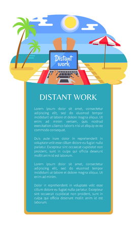 Distant work leaflet poster freelancer legs, person lying on tropical beach with notebook on knees, umbrella and coastline in front, vector illustration Illustration