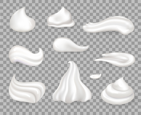 Soft sweet delicious whipped cream samples set. Light topping for desserts with tender consistency vector illustrations on transparent background.