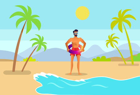 Man in trunks and sunglasses with inflatable ring on tropical seashore. Beard male go to sea through sandy beach among palms cartoon vector illustration.