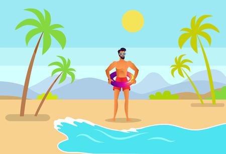 Mann in Koffern und Sonnenbrille mit aufblasbarem Ring an tropischer Küste. Bart männlich gehen zum Meer durch Sandstrand unter Palmenkarikaturvektorillustration.