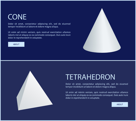Tetrahedron and cone geometric figures web posters with push button about, geometry shapes online banners isolated on blue, add text sample Foto de archivo - 104984338