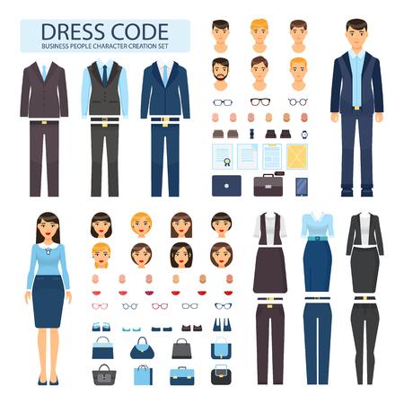 Codice di abbigliamento per set di caratteri di persone d'affari. Eleganti abiti da ufficio formali maschili e femminili. Costruttore di dipendenti con illustrazioni vettoriali di capi.