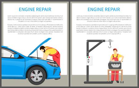 Collection d'affiches de réparation de moteur avec échantillon de texte dans des boîtes blanches, travailleurs réparant une voiture, réparateurs près de bannières d'outils de dispositifs mis en illustration vectorielle Vecteurs