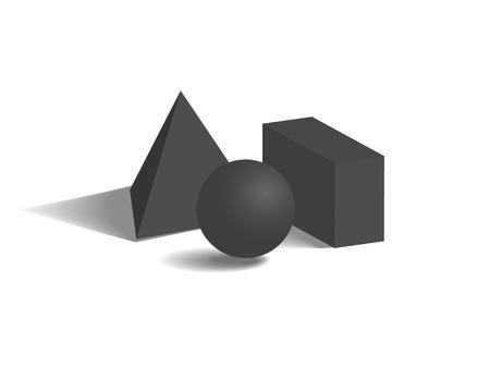 Figures géométriques noires, sur fond blanc vector illustration avec sphère, pyramide carrée prisme cuboïde, formes et formes exposition 3d