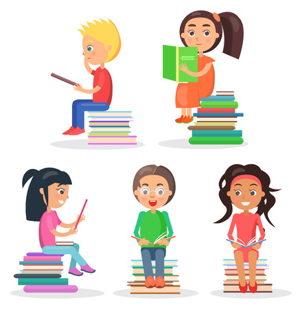 Five reading kids sitting on pile of literature and holding color textbooks in hard cover isolated on white vector illustration. Ilustração