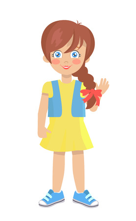 Brunette doll like girl with thick braid in yellow dress, blue jacket and sneakers vector illustration isolated on white. Cute cartoon kindergarten age female  イラスト・ベクター素材
