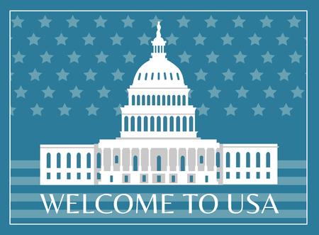 Bienvenido al cartel de Estados Unidos con título y marco, la casa blanca como signo de representación simbólica de la libertad americana en la postal de ilustración de vector de bandera