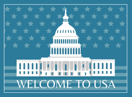 Welcome to USA poster with headline and frame, White house as symbolic representation sign of american freedom on flag vector illustration postcard