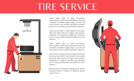 Tire service isolated on white colorful poster, vector illustration with mechanics adjusting automobile wheels, special instruments for rubber fitting