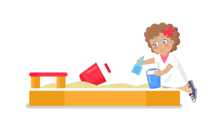 Little girl plays in sandbox putting sand with help of shovel and bucket vector illustration isolated on white background, childrens playground element Standard-Bild - 105603842