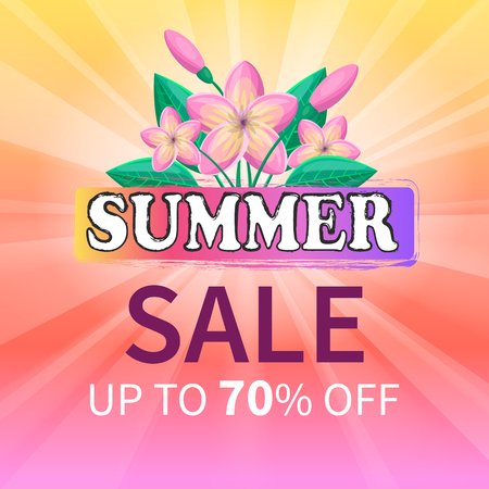Summer sale up to 70 off advertisement poster design with beautiful exotic gentle pink flowers and green leaves, summertime total deal advert vector Illustration