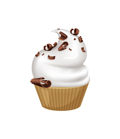 Tasty cupcake that has whipped cream on top and sprinkled with dark chocolate crumbles. Small delicious sweet dessert isolated vector illustrations.