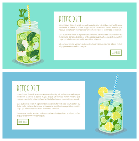 Detox diet pages collection, internet sites with text sample headline in boxes, mugs and beverage poured in it, dieting drinks vector illustration