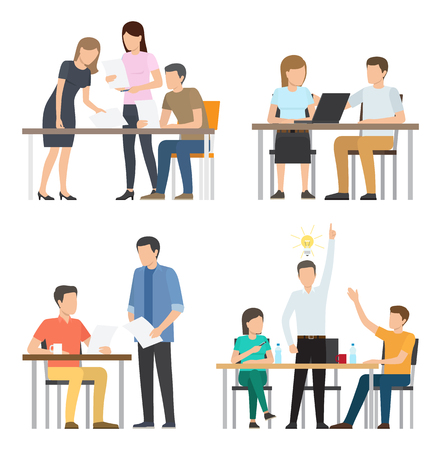 People work on fresh startup around table set. Workers occupied with brainstorm for start up. Team of employees generate ideas vector illustrations. Teamwork concept