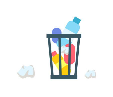 Rubbish Bucket Colorful Banner Illustration