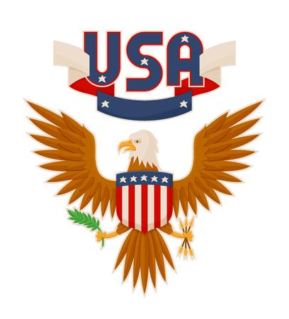 USA Bald Eagle and Flag Poster Vector Illustration Фото со стока