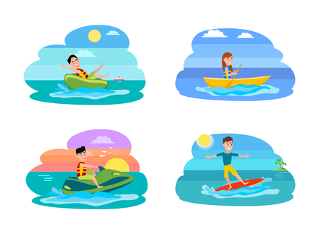 Sport Summer Activities Set Vector Illustration Фото со стока