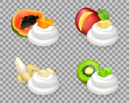 Sweet Ripe Fruits and Delicious Whipped Cream Set
