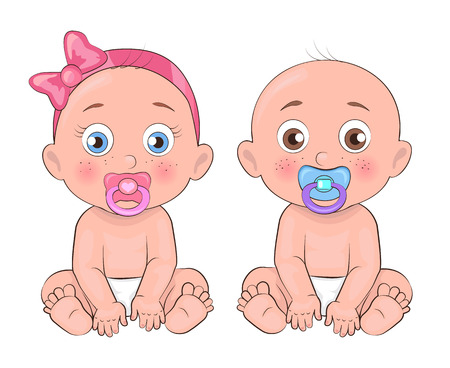 Girl and Boy Little Kids, Vector Illustration