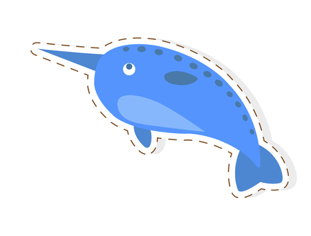 Cute Narwhal Cartoon Flat Vector Sticker or Icon Stock fotó
