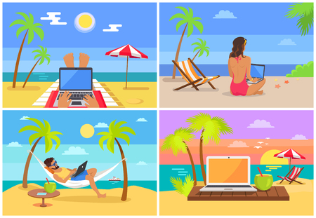 Freelancer People and Laptops Vector Illustration Stock Photo