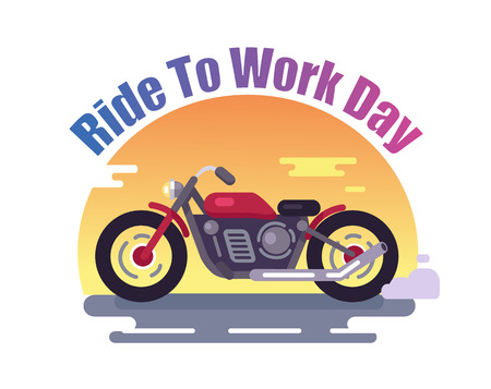 Ride to Work Day Colorful Banner with Red Bike 写真素材
