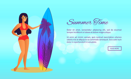 Summer Time Poster Web Page Design with Sexy Lady