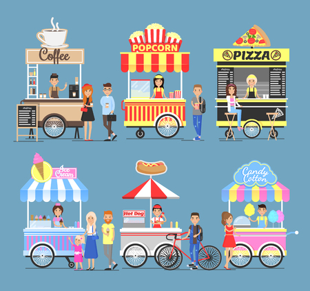 Tasty Street Food Snacks from Carts with Vendors