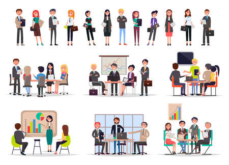 Successful Business People on Meetings Poster Imagens