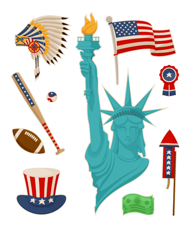 USA Symbolysm and Statue of Liberty Vector Banner