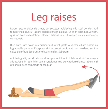 Leg Raises Poster Text Sample Vector Illustration