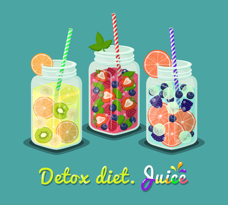 Detox Diet Juice Set of Mugs Vector Ilustration