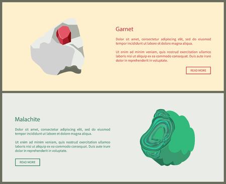 Granaat en malachiet kopercarbonaat hydroxide mineralen, rood en groen mineraal kristalliseert in monoklien kristalsysteem vector web online pagina's ontwerpen