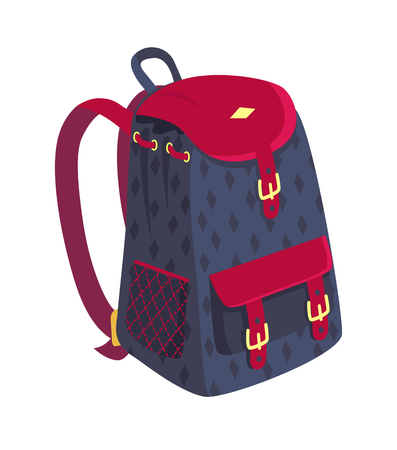 Side view on fashionable model of kids backpack in dark blue and violet colors with metal fasteners and pockets vector illustration isolated 写真素材
