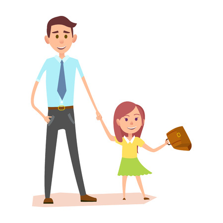 Young man in blue shirt holds little girls hand vector illustration. Schoolgirl in yellow shirt and green skirt waving brown briefcase.
