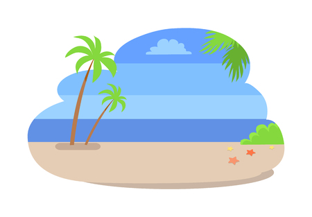 Summer background with empty beach without people, coastline with hot sand, palm trees, sea stars near bushes, vector summertime backdrop isolated Archivio Fotografico - 104961900